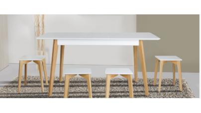Обеденная мебель Loft Сингл: комплектом стол и стулья-табуретки