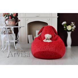 Дитяче крісло груша 90х60 заєць з вухами червоне
