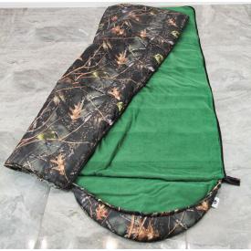 Туристический спальный мешок на флисе 220х140 см дуб с капюшоном