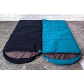 Туристический спальный мешок нейлон 220х85 см темно-синий с капюшоном