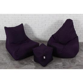 Набор мягкой мебели кресло мешок груша пуф темно-фиолетовый