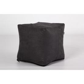 М'який пуф Кубик сіра екокожа 35x35 см