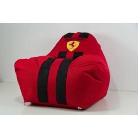 Бескаркасное кресло мешок диван с логотипом Ferrari красно-черное