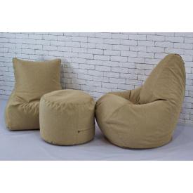 Набор мягкой бескаркасной мебели кресло мешок груша пуф рогожка бежевый
