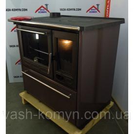 Чугунная отопительно-варочная печь с водным контуром и духовым шкафом Plamen Termo Glas 15 кВт