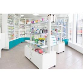 Стелаж окремостоячий для аптек Прем'єр Меблі білий