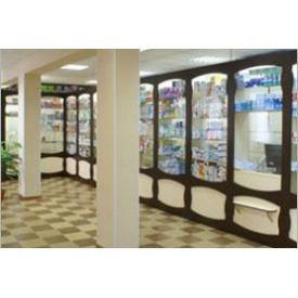 Высокий стеллаж для аптек Премьер Мебель коричневый бежевый