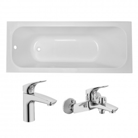 Комплект ALTEA ванна 170x70x44,8 см без ножек + ORLANDO смесители для ванны и для умывальника хром 35 мм