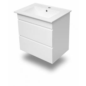 FIESTA комплект меблів 600 тумба підвісна біла 2 ящика умивальник накладний VOLLE 15-600-01