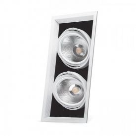 Карданний світильник Feron AL212 2xCOB 30W біла рамка