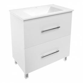 NEMO комплект мебели 80 см белый тумба напольная 2 ящика + умывальник накладной