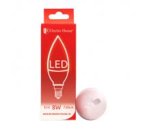 Светодиодная лампа ElectroHouse свеча E14 8W C37 4100K 720Lm