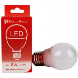 Светодиодная лампа ElectroHouse шар E27 8W G45 4100K 720Lm