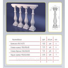 Балюстрада асиметрична з штучного мармуру 140х860 мм