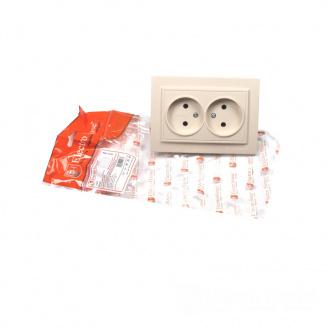 ElectroHouse Розетка двойная без заземления латте Enzo 16A IP22