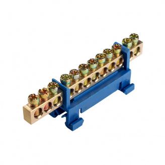 ElectroHouse Шина нулевая 12 отверстий на DIN рейку 100A IP20