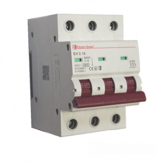 ElectroHouse Автоматический выключатель 3P 16A 4,5kA 230-400V IP20
