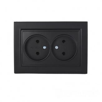 ElectroHouse Розетка двойная без заземления Безупречный графит Enzo 16A IP22