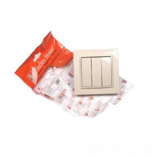 ElectroHouse Выключатель тройной латте Enzo IP22