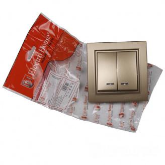 ElectroHouse Выключатель с подсветкой двойной Роскошно золотой Enzo IP22