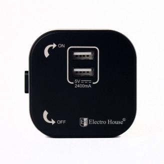 ElectroHouse Розетка 2-я USB Pandora Black 2A IP40