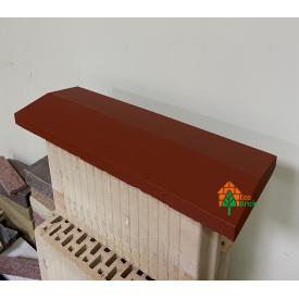 Конек для забора бетонный 360х680 мм красный