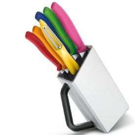 Набір кухонний Victorinox SwissClassic Utility Block 6шт з кольоровими ручками з підставкою (Vx67127.6L