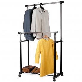 Стійки для одягу Tatkraft Phoenix подвійна пересувна на коліщатках 85,5x101x170x45 см (13049)