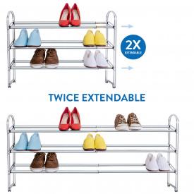 Подставка для обуви Tatkraft Maestro раздвижная 3х ярусная из хромированной стали 64,5х118,5х53,5х22,5(13445)