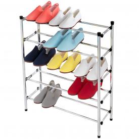 Подставка для обуви Tatkraft Expert 5 уровневая регулируемая из хромированной стали 89x173x46,5 см (13636)