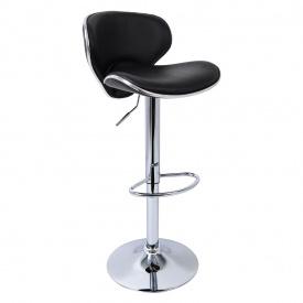 Барный стул хокер Woltu BS186 регулируемой высотой эко кожа Черный