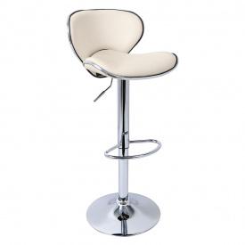 Барный стул хокер Woltu BS186 регулируемой высотой эко кожа Бежевый