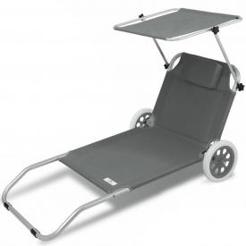 Шезлонг, лежак садовый кресло для отдыха Kesser KE-1542 Серый