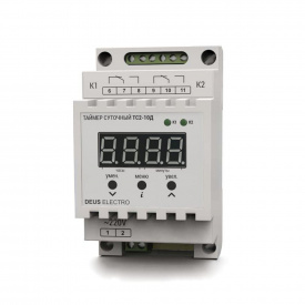Таймер двухканальный суточный цифровой на DIN-рейку DEUS Electro ТС 2-10 Д 10 А 220 В