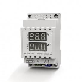 Амперметр-вольтметр змінного струму однофазний цифрової на DIN-рейку DEUS Electro АВ 1 100-420 В 0-100 А