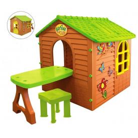 Детский игровой домик пластиковый садовый Mochtoys столик стул 11045