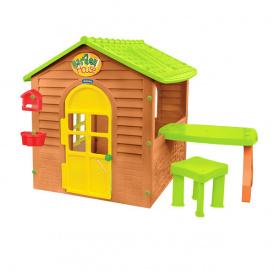 Дитячий ігровий будиночок пластиковий садовий Mochtoys столик стілець 12240