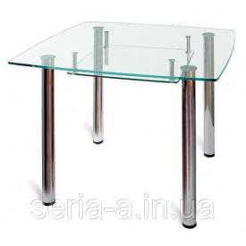 Обеденный стол стеклянный Арагон (квадратный с полкой) 1000 1000
