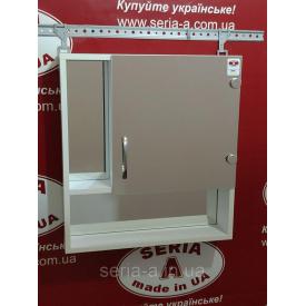 Зеркальный навесной шкаф в ванную с открытыми полками А 02-50