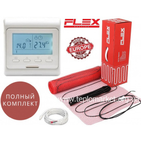 Кабельный мат Flex EHM 3м²/525Вт/ 175Вт/м² теплый пол электрический под плитку с программируемым терморегулятором E51