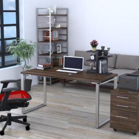 Письмовий стіл Loft-design Q-160 на металевих ніжках хром прямий горіх-модена