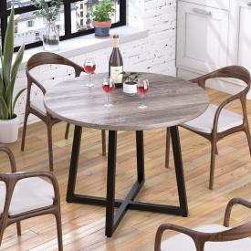Круглий стіл Loft-design Бланк темний дуб-палена
