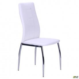 Обеденный кухонный стул АМФ Николас металл-хром мягкое сидение-белый кожзам