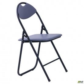 Раскладной стул AMF Джокер черный ПВХ серый для сада и пикника