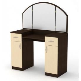 Туалетный столик Компанит Трюмо-4 дсп цвета венге с зеркалом и ящиками