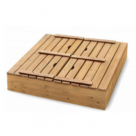 Дитяча пісочниця SportBaby-28 100х100 см дерев'яна з лавочками і кришкою для вулиці
