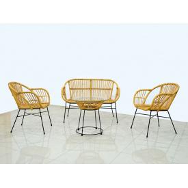 Плетеный комплект мебели Cruzo Ники софа+2 кресла+кофейный столик из ротанга
