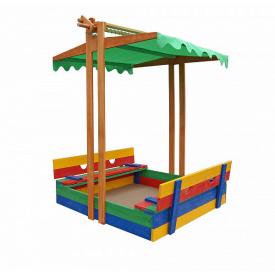 Дерев'яна пісочниця SportBaby №10 з дахом збірним і лавочками кольоровими