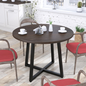 Круглий стіл Loft-design Бланк венге-корсика