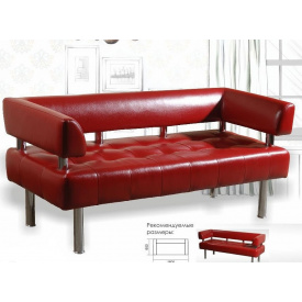 Диван-офис Тонус Sentenzo с подлокотниками красный кожзам 1600х600х700 мм